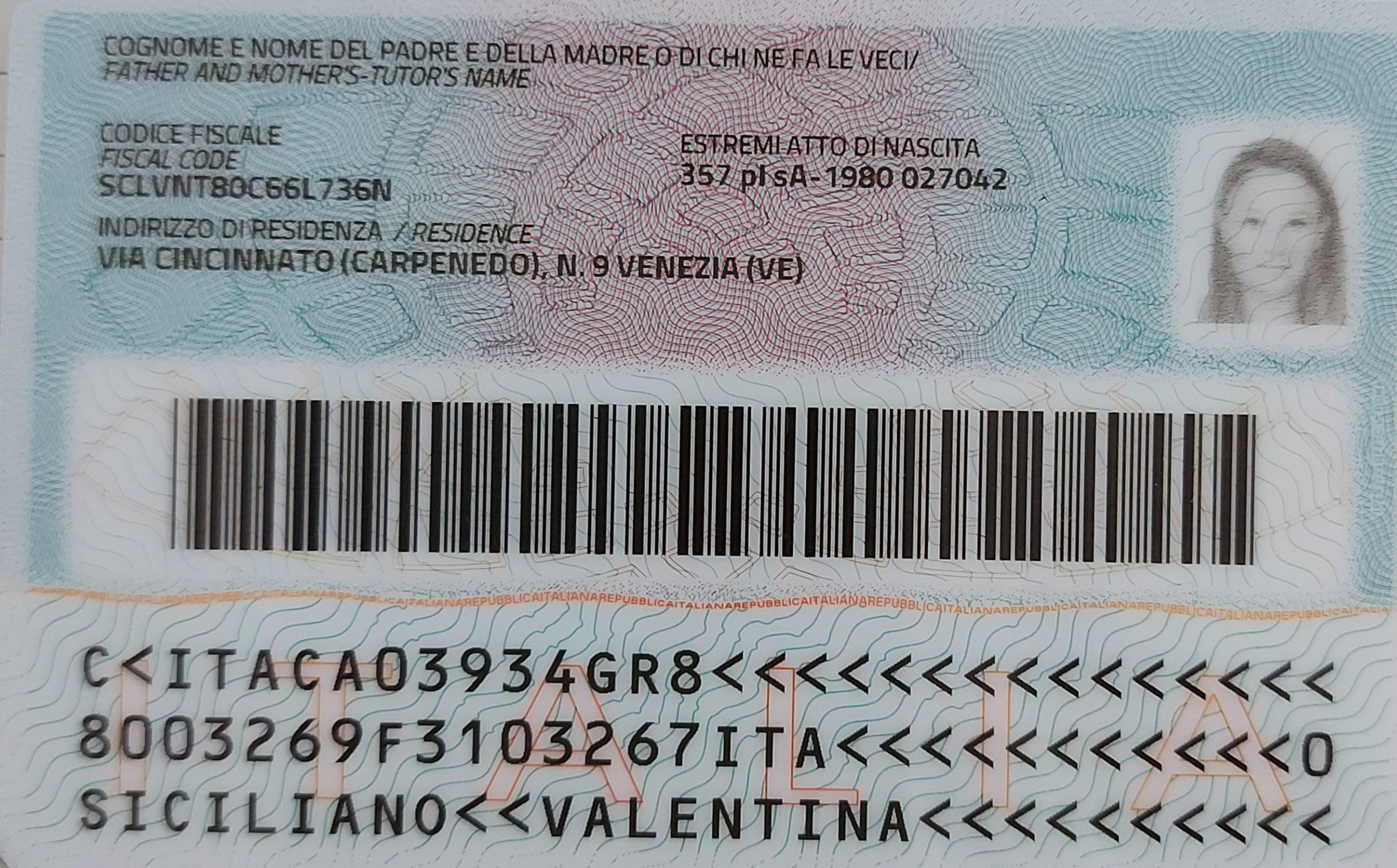 Carta identità Valentinasiciliano retro