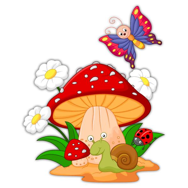 adesivi-murali-per-bambini-fungo-margherite-lumaca-e-la-farfalla