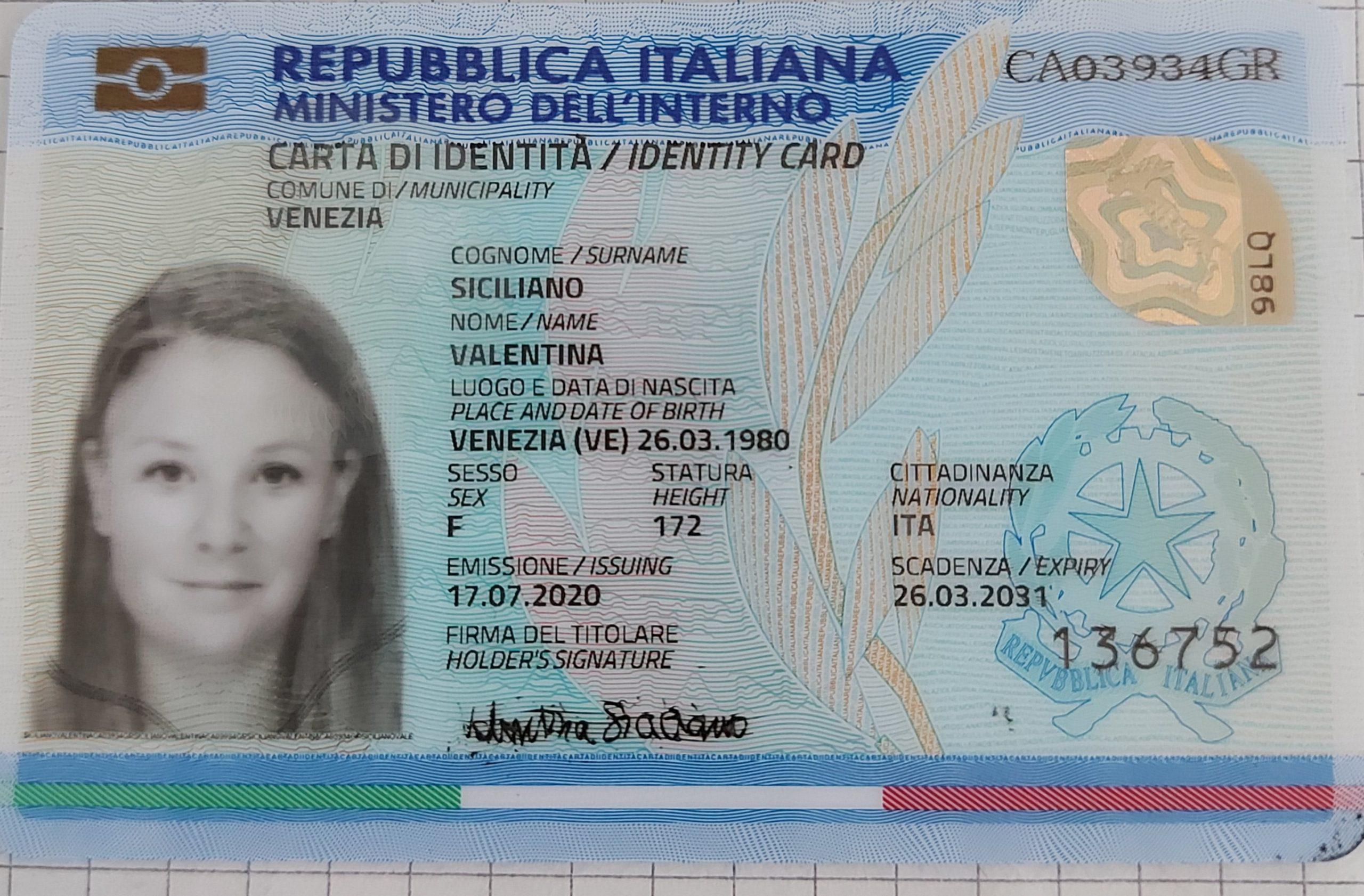 carta identità Valentinasiciliano fronte